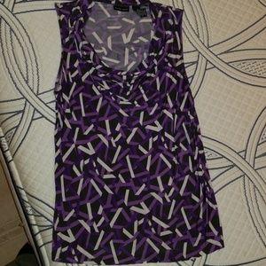 Purple Patterned Sleeveless Top